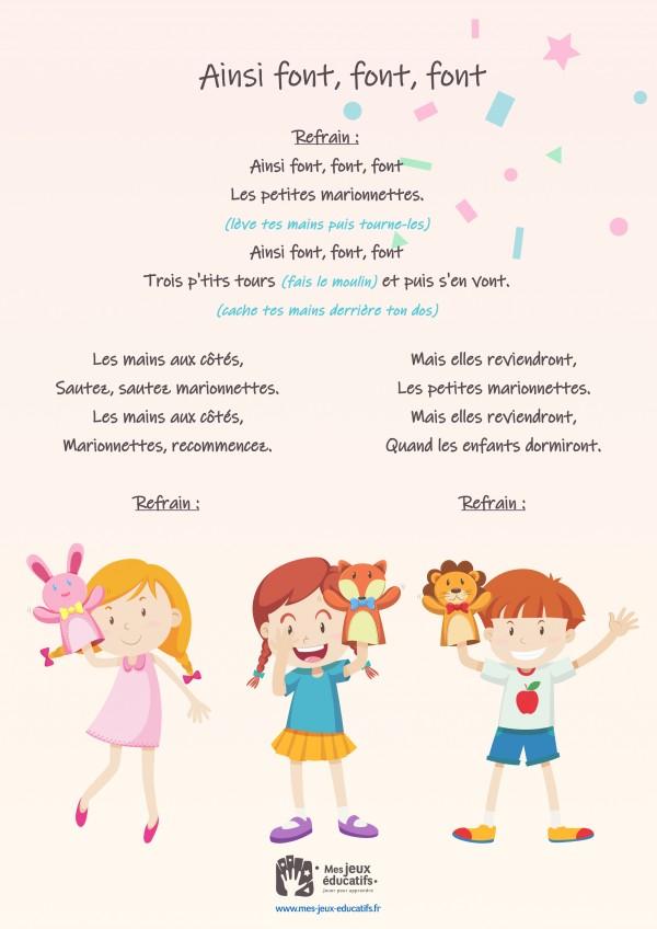 Comptine enfant 'Ainsi font, font, font' - paroles, partition