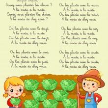 Comptine enfant \'Savez-vous planter les choux ?\' - paroles illustrées