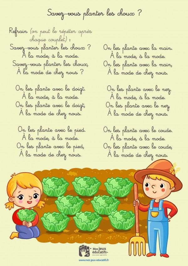 Comptine enfant 'Savez-vous planter les choux ?' - paroles illustrées
