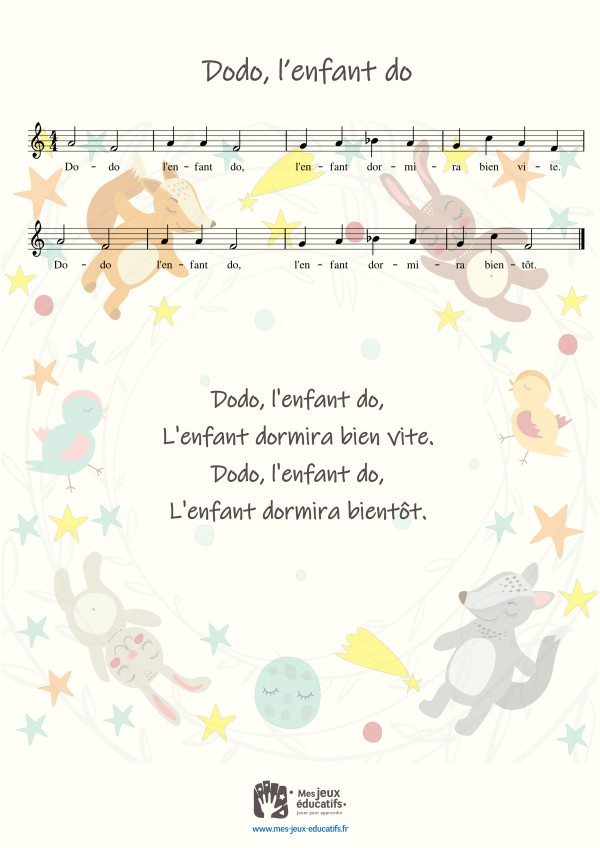 Comptine, berceuse 'Dodo, l'enfant do' - paroles, partition