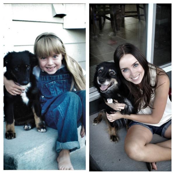 Une fille avec son chien - deux photos avec une dizaine d'années d'écart.