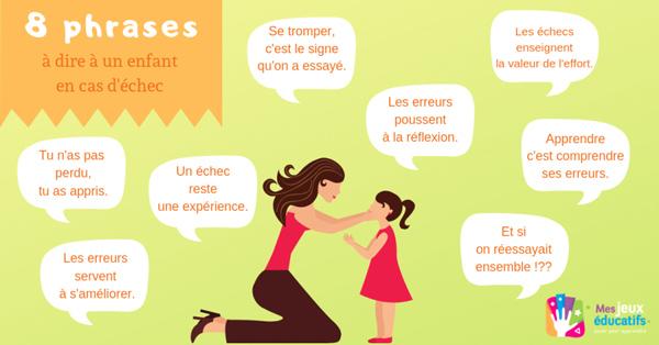 Les phrases puissantes à répéter aux enfants en cas d'erreurs ou d'échecs.