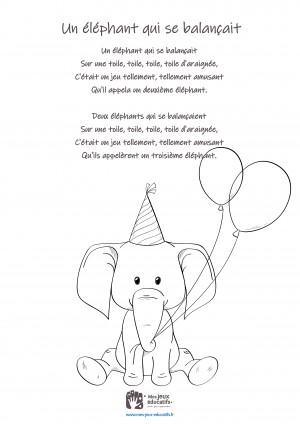 Comptine enfant 'Un éléphant qui se balançait' - coloriage