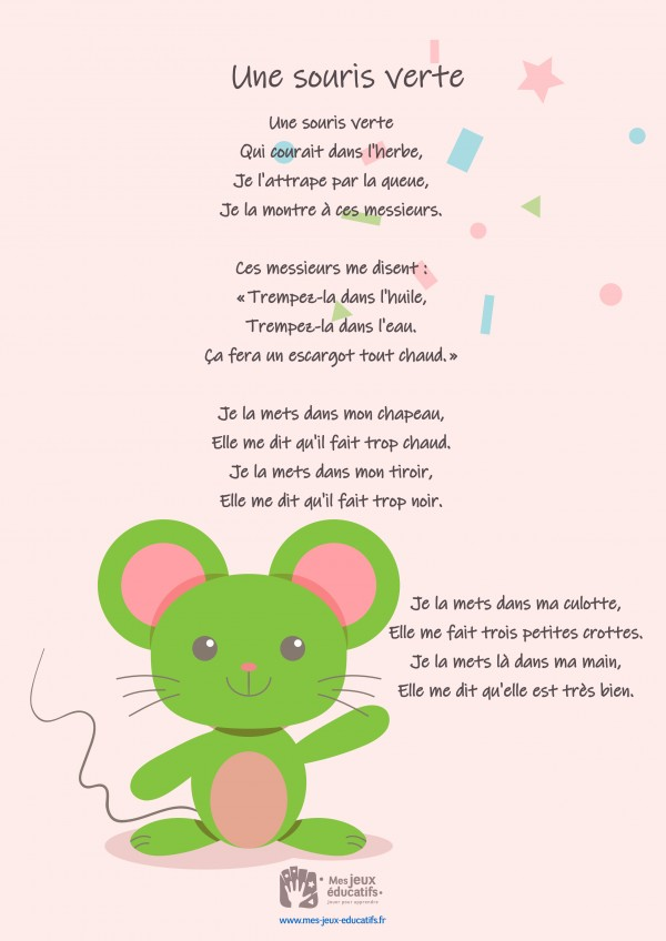 Comptine enfant 'Une souris verte' - paroles, partition