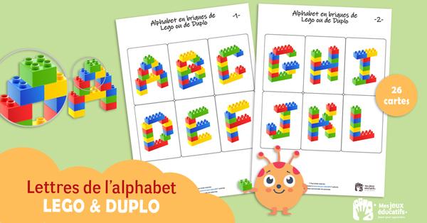 26 modèles de lettres de l'alphabet à construire avec des briques de Lego.