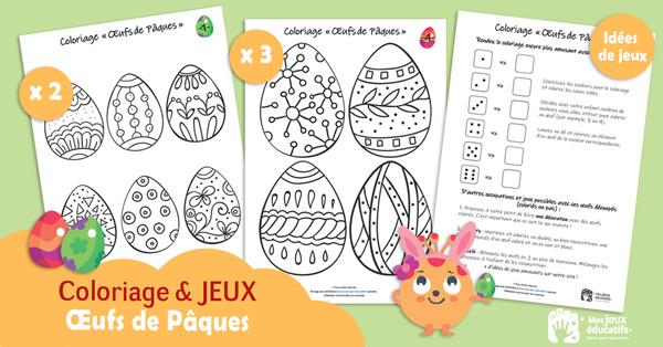 Coloriage Oeufs de Pâques et jeux de logique et de mémoire