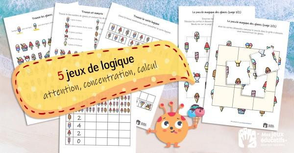Jeux de logique (attention, concentration, calcul) sur le thème de glaces